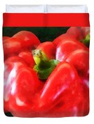Three Red Peppers Duvet Cover