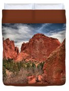 Three Red Towers Duvet Cover