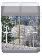 Three Roadside Crosses - Mount Airy Md Winter Duvet Cover