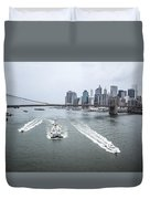 Three Ships At East River Duvet Cover