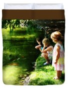 Three Sisters Watching Koi Duvet Cover
