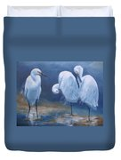 Three Snowy Egrets Duvet Cover