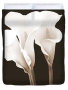 Three Tall Calla Lilies In Sepia Duvet Cover