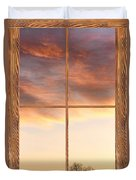 Three Trees Sunrise Barn Wood Picture Window Frame View Duvet Cover