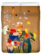 Three Vases Of Flowers Duvet Cover