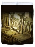 Three Vintage Wooden Chairs Duvet Cover