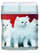 Three White Cats Duvet Cover