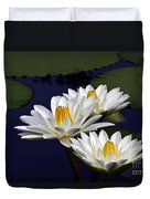 Three White Tropical Water Lilies Version 2 Duvet Cover