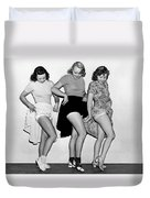 Three Women Lift Their Skirts Duvet Cover by Underwood Archives