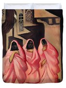 Three Women On The Street Of Baghdad Duvet Cover