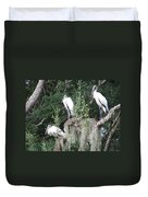 Three Wood Storks Duvet Cover