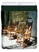 Three Wooden Rocking Chairs On Sunny Porch Duvet Cover