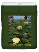 Three  Yellow Lilies Duvet Cover