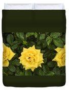 Three Yellow Roses In Rain Duvet Cover