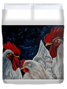 Three's A Crowd   -    Roosters -chicken Duvet Cover