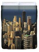Through The Haze Chicago Shines Duvet Cover