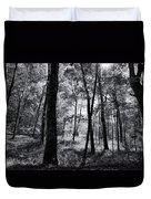 Through The Trees In Black And White Duvet Cover