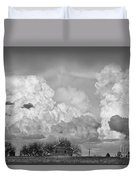 Thunderstorm Clouds And The Little House On The Prarie Bw Duvet Cover