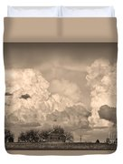 Thunderstorm Clouds And The Little House On The Prairie Sepia Duvet Cover