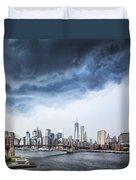 Thunderstorm Over Manhattan Downtown Duvet Cover