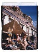Tibet Market At Gyantse By Jrr Duvet Cover