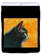 Black Cat In Profile Duvet Cover