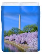 Tidal Basin And Washington Monument With Cherry Blossoms Vertical Duvet Cover