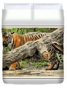 Tiger By The Log Duvet Cover