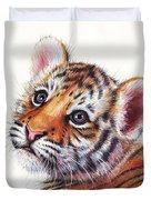 Tiger Cub Watercolor Painting Duvet Cover