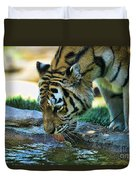 Tiger Drinking Water Duvet Cover