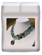 Tiger Eye And Turquoise Triple Strand Necklace 3640 Duvet Cover