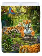 Tiger Family At The Pool Duvet Cover