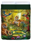 Tiger Family In The Jungle Duvet Cover by Jan Patrik Krasny