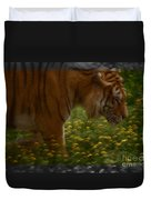 Tiger In The Midst Of Buttercups Duvet Cover
