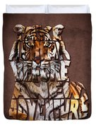 Tiger Majesty Typography Art Duvet Cover