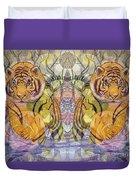 Tiger Spirits In The Garden Of The Buddha Duvet Cover