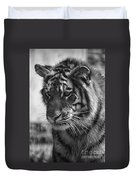 Tiger Stare In Black And White Duvet Cover