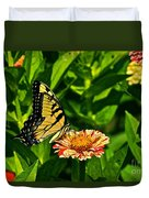 Tiger Swallowtail And Peppermint Stick Zinnias Duvet Cover