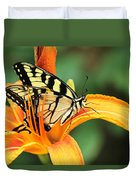 Tiger Swallowtail Butterfly On Daylily Duvet Cover