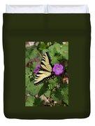Tiger Swallowtail Butterfly On Geranium Duvet Cover