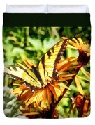 Tiger Swallowtail On Yellow Wildflower Duvet Cover