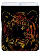 Tiger Watercolor - Black Duvet Cover