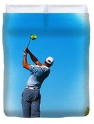Tiger Woods Plays His Tee Shot On The 15th Hole Duvet Cover