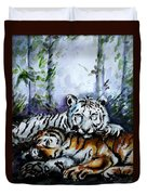 Tigers-mother And Child Duvet Cover