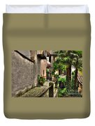 Tight Alley With Palm Trees Duvet Cover
