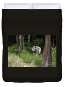 Timber Wolf In Forest Duvet Cover