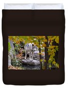 Timber Wolf On Rock Duvet Cover