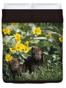 Timber Wolf Pups And Flowers North Duvet Cover