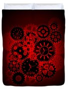 Time Clock Gears Clipart On Red Background Duvet Cover