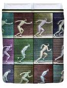 Time Lapse Motion Study Man Running Color Duvet Cover